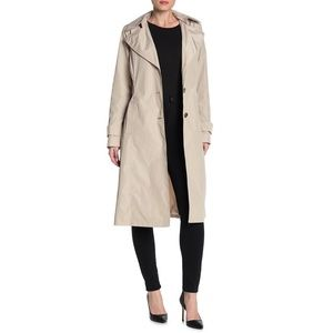 NWT Via Spiga Belted Waist Hooded Trench Coat M